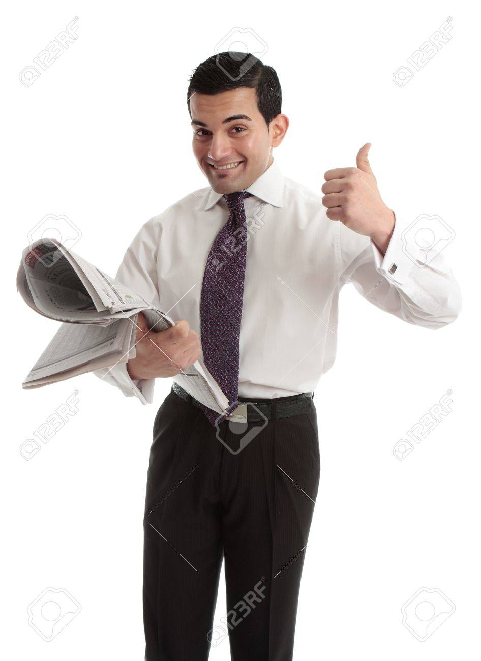 A businessman, investor or stockbroker with the financial newspaper and showing a thumbs up hand sign Stock Photo - 14006842