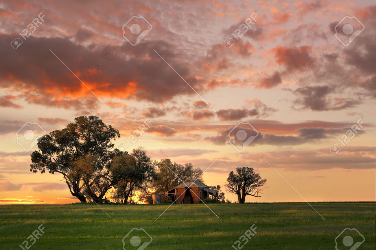 Australian Outback Sunset Old Farm House Crumbling Walls And Stock Photo Picture And Royalty Free Image Image 32782407