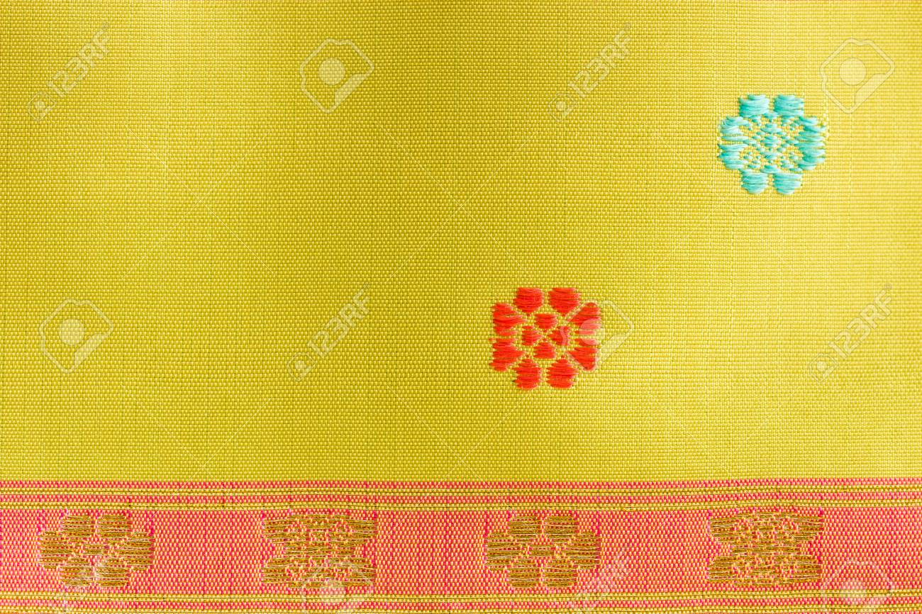 A Beautiful Piece Of Very Fine Thai Silk Of Golden Stripes On