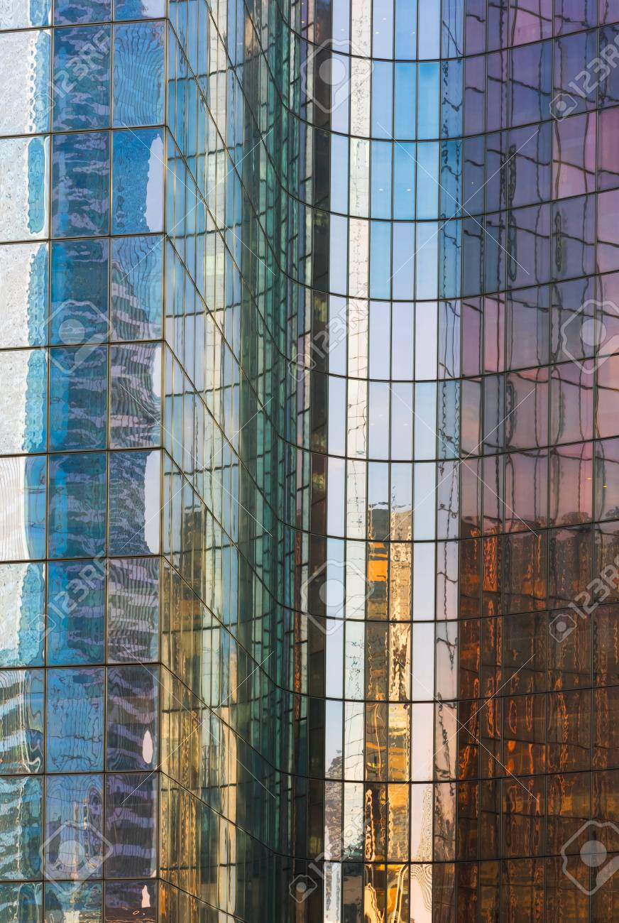 0bb6fef7102 Background abstract glass building multi-color reflection Stock Photo -  90498952