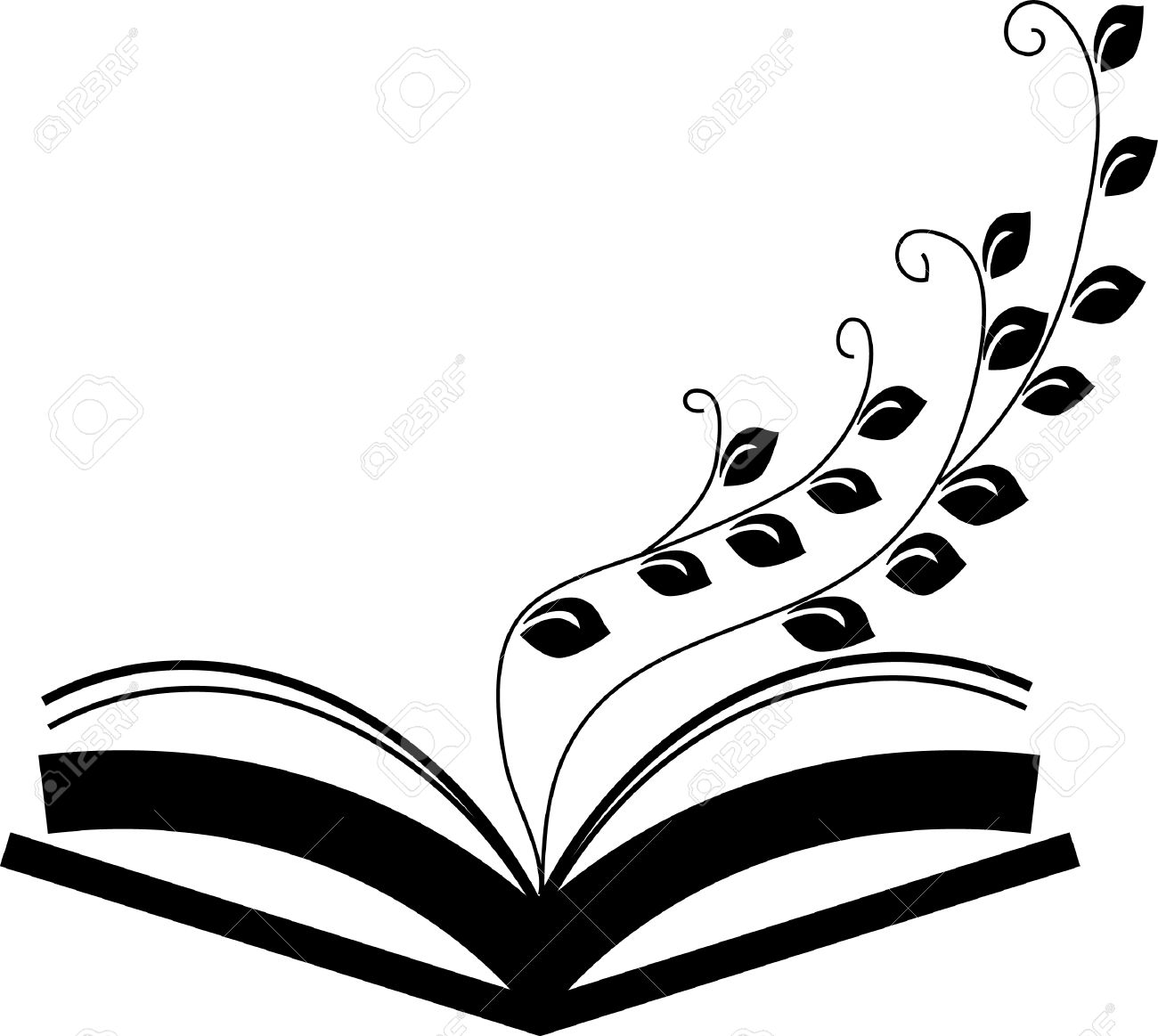 ecology concept paper tree growing from an open book black and
