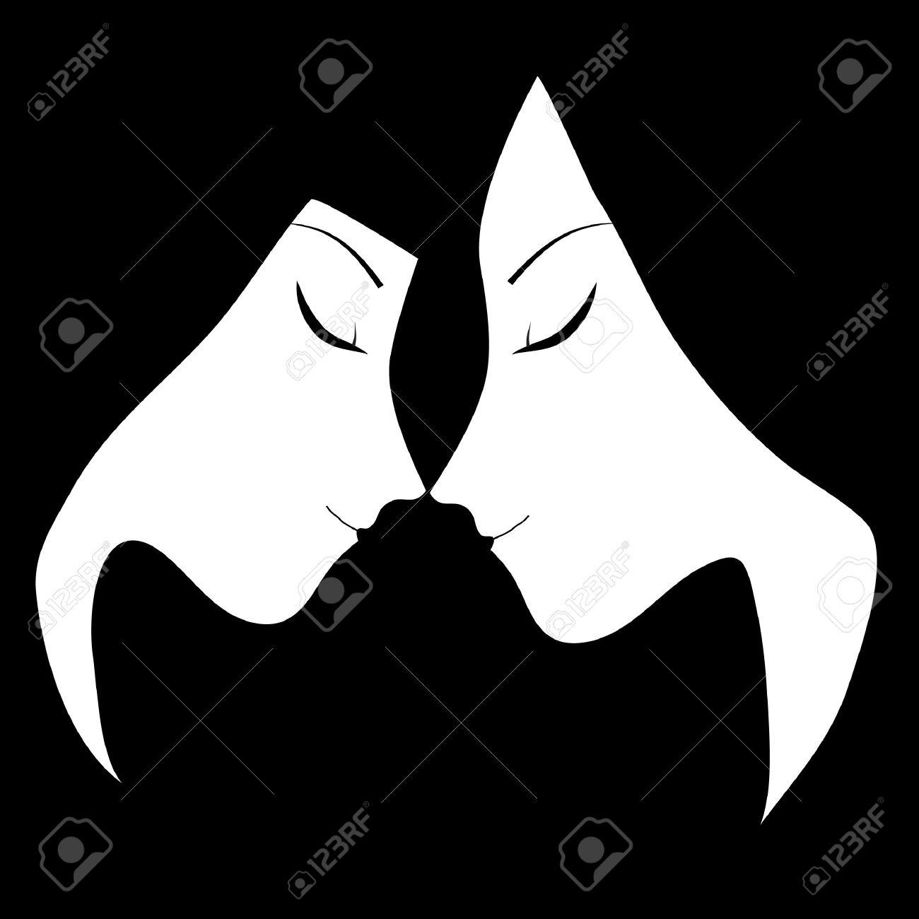 Black and white lesbian kiss