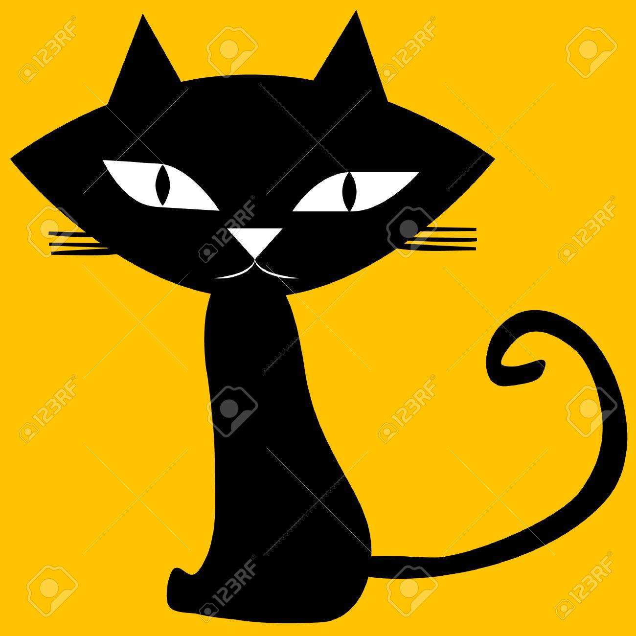 Black Cat Isolated On Yellow Background Royalty Free Cliparts Vectors And Stock Illustration Image 42803999
