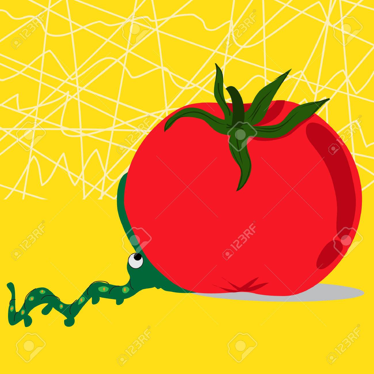 Background image too big - An Adorable Worm Attempting To Chew The Too Big Tomato On A Yellow Background