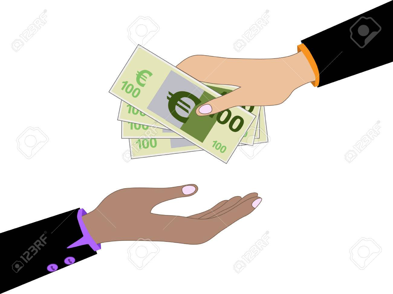 Vector Cartoon Of Hand Giving Money Euro To Other Hand Royalty Free