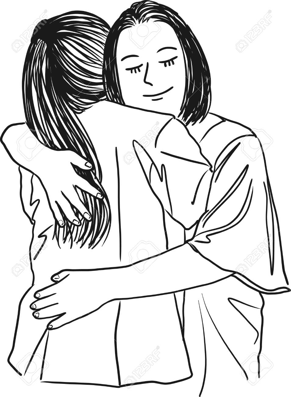 Vector art drawing of mother hugging her teenage daughter mothers