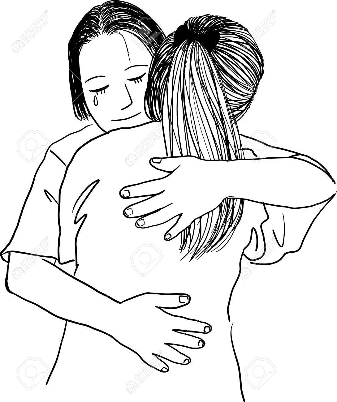 Drawing Of Mother Hugging Her Teenage Daughter Royalty Free Cliparts