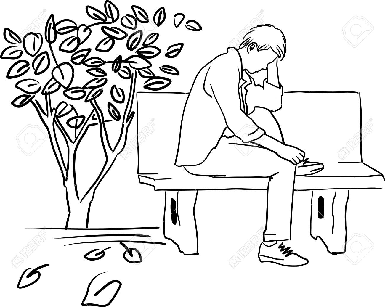 Drawing of very sad man sitting alone stock vector 86379271