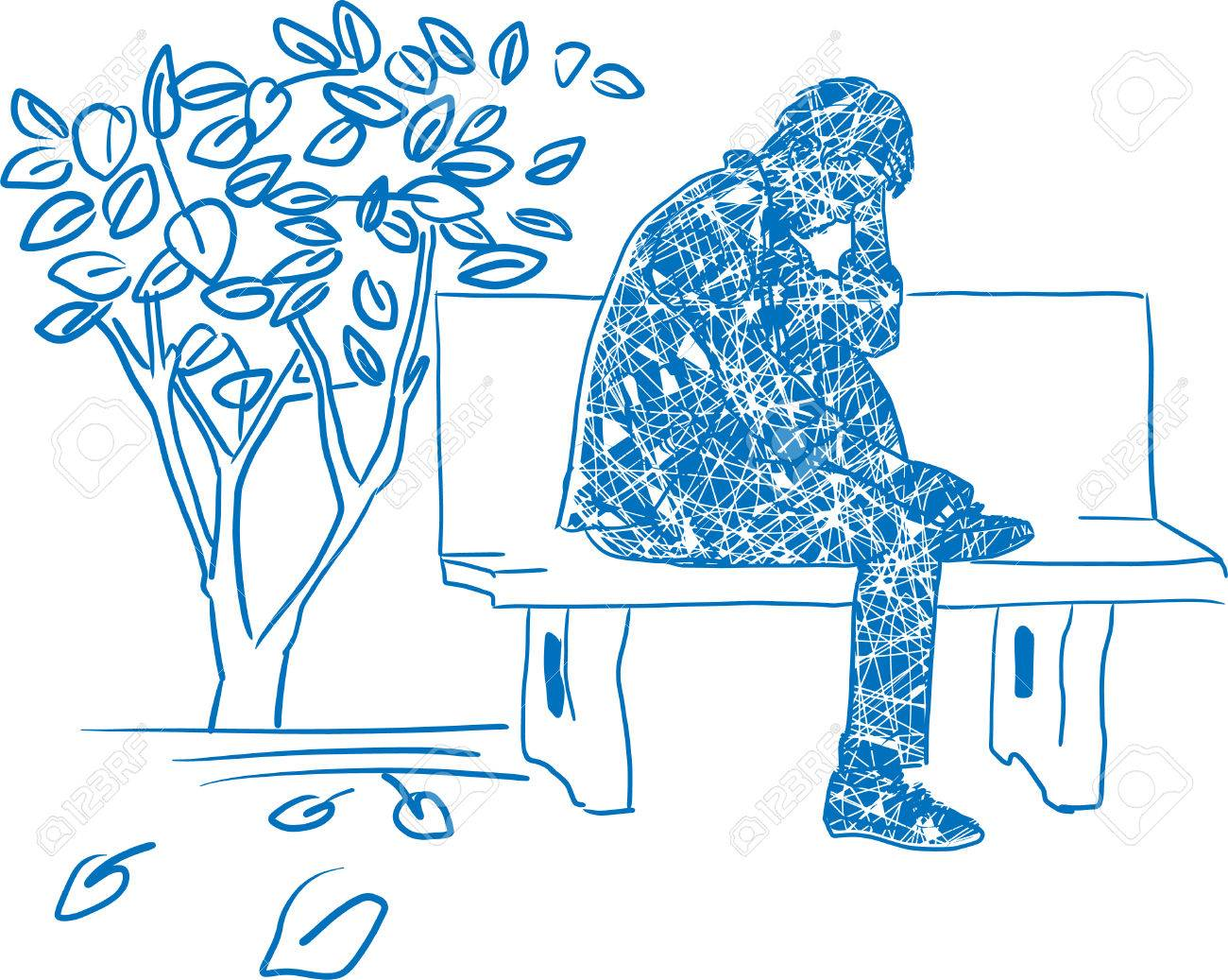Drawing of very sad man sitting alone stock vector 86379272