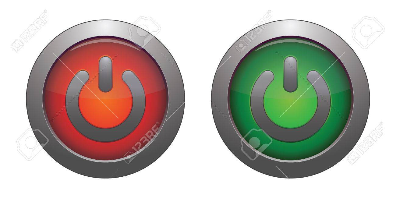 Glowing power green and  red on   off button Stock Vector - 12477629