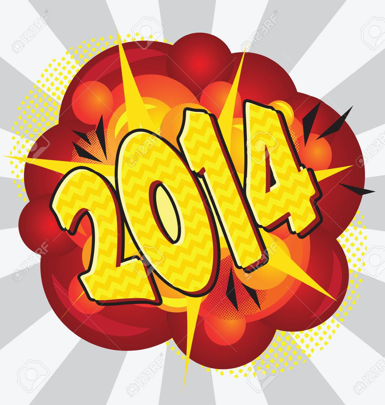 Cartoon explosion pop-art style – 2014. Stock Vector - 23291479
