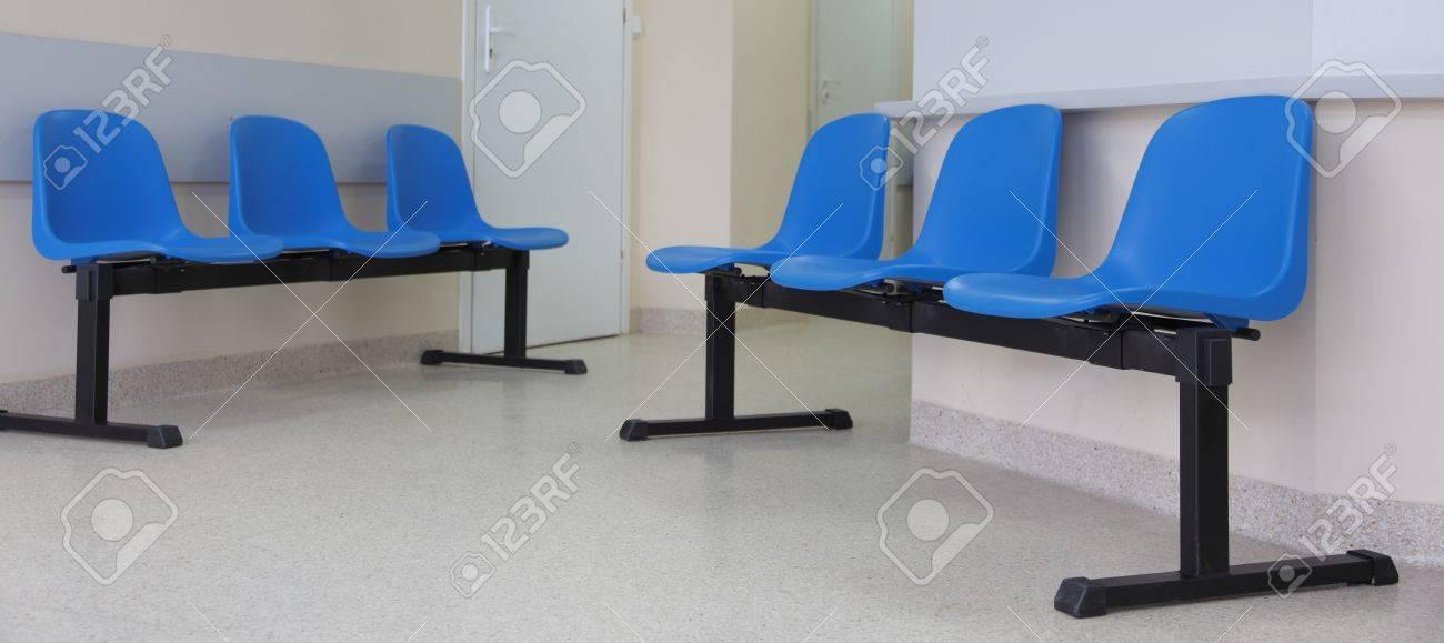 waiting room - blue chairs, door Stock Photo - 10614775