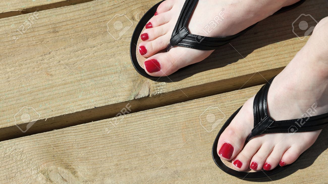 Flip-flops Outdoor Red Nail Stock Photo