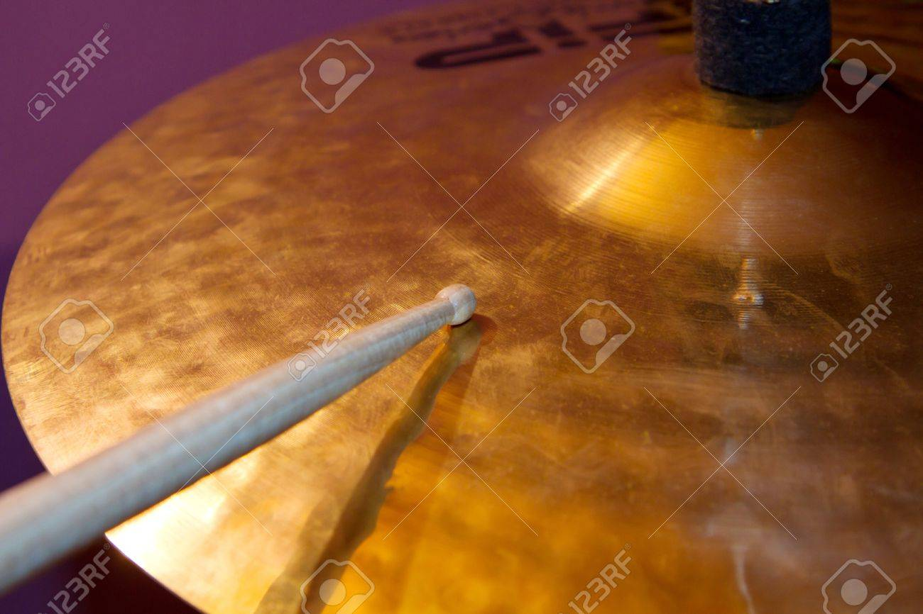 Close up of drum kit with cymbal and drumsticks Stock Photo - 9656520