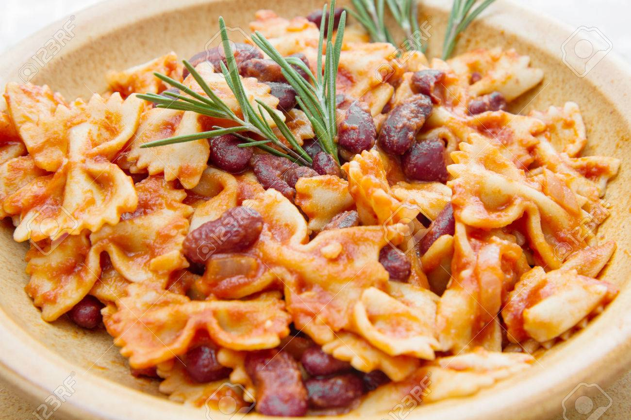 Earthenware Pot With Italian Pasta With Red Kidney Beans Stock Photo Picture And Royalty Free Image Image 67403542