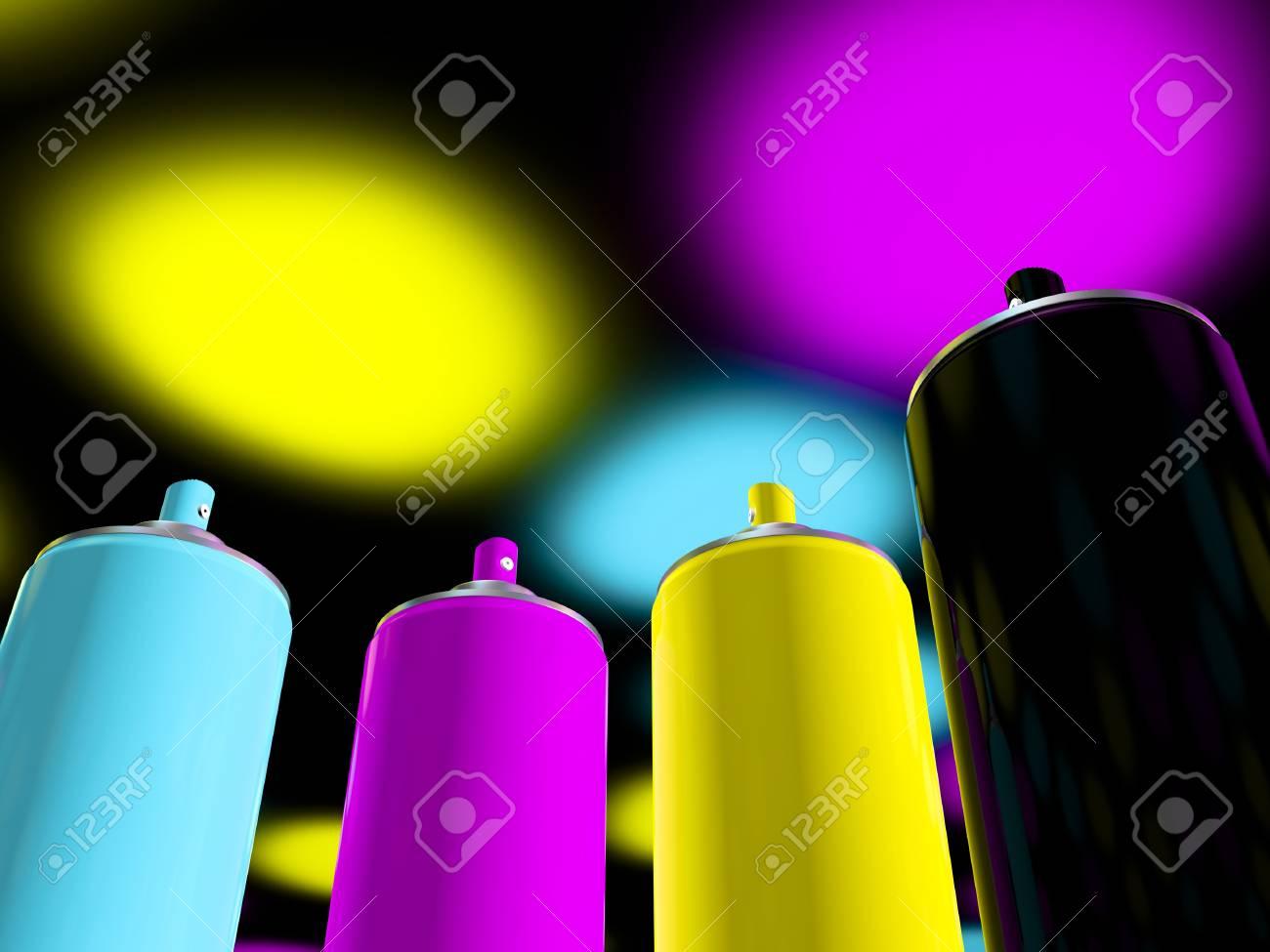 3d rendering, spray paint cmyk Stock Photo - 16298231