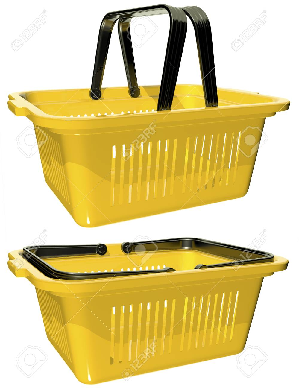 plastic yellow basket with handles for shopping Stock Photo - 17174698