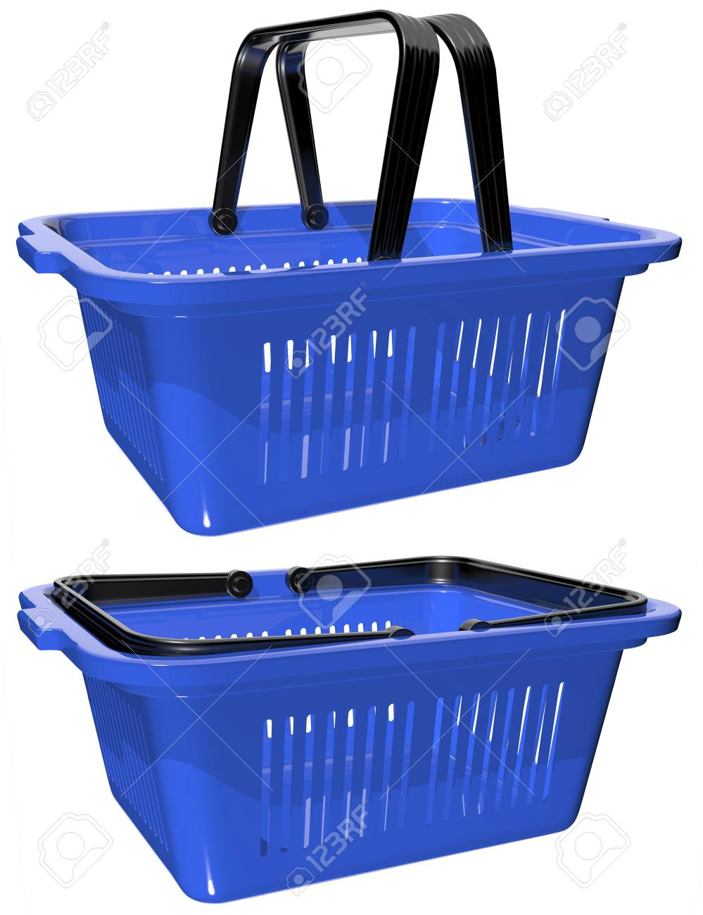 plastic blue basket with handles for shopping Stock Photo - 17174699