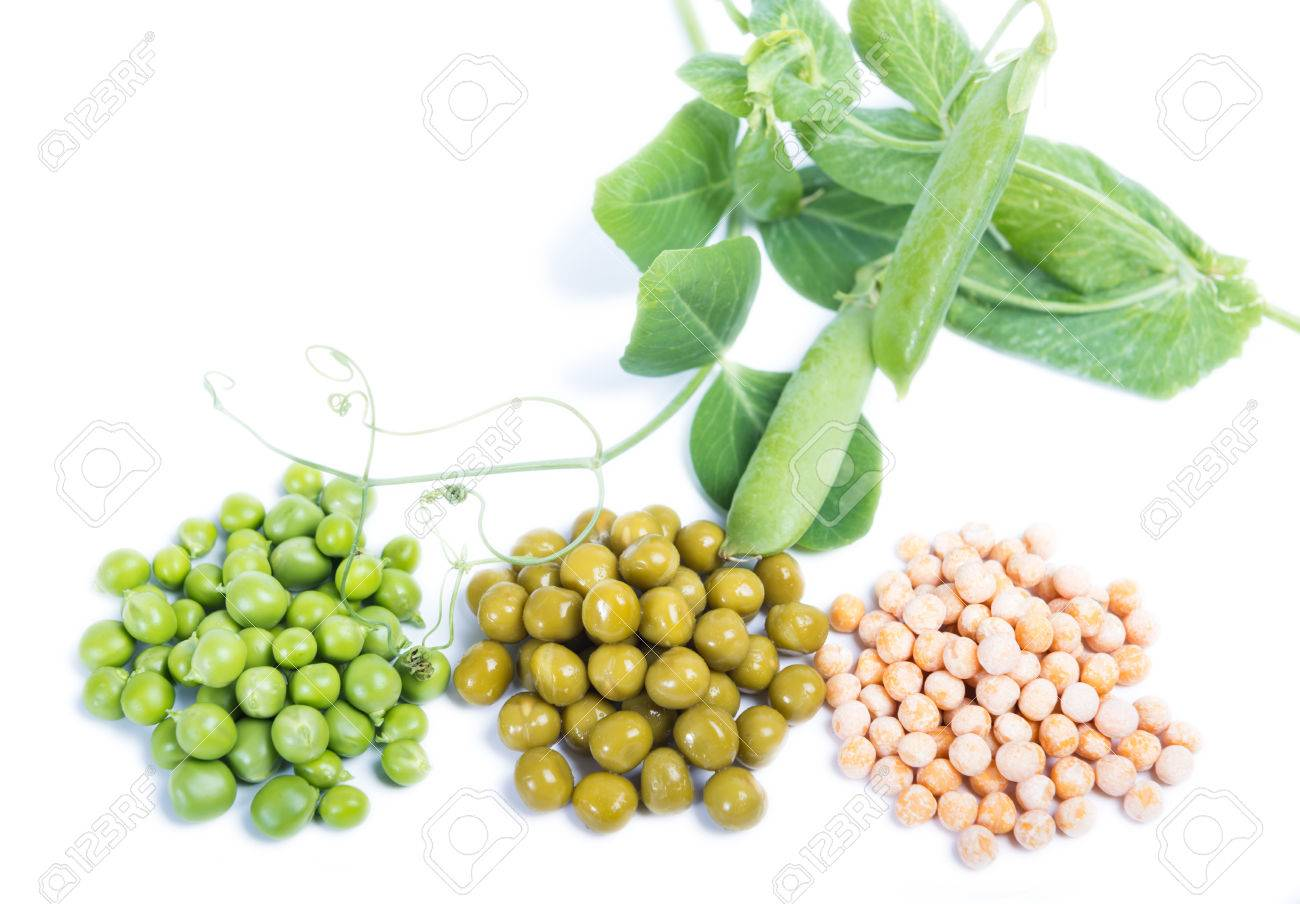 Three Types Of Green Peas Raw Canned And Dry Isolated Stock