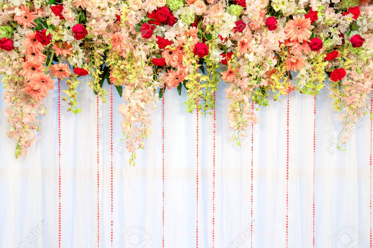 Beautiful Flowers And Wave Curtain Wall Background Wedding