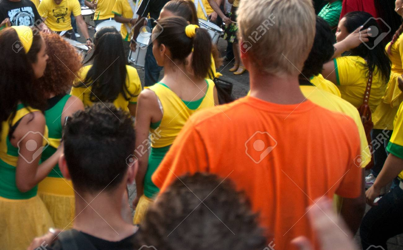 Brazilian super celebrating the World Cup soccer in the streets of amsterdam Stock Photo - 14700352
