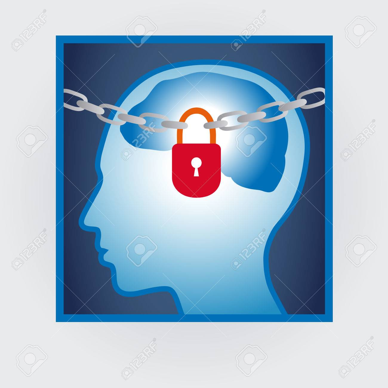 head profile with locked mind, autism concept - 52561330