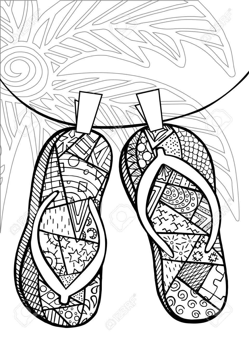 Hand Drawn Of Flip Flops At The Beach For Coloring Book Royalty Free ...