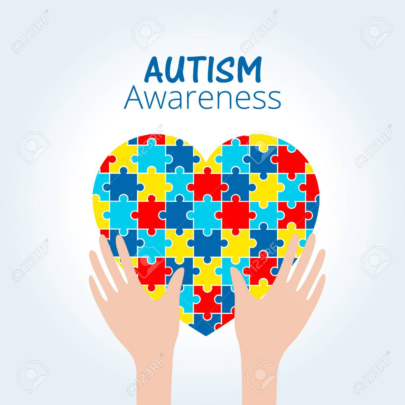 Autism Awareness Concept With Heart Of Puzzle Pieces As Symbol