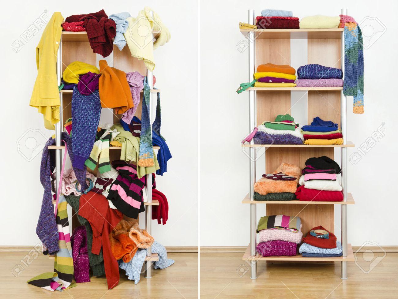 Vor Und Nach Unordentlich Ordentlich Kleiderschrank Mit Bunten ...