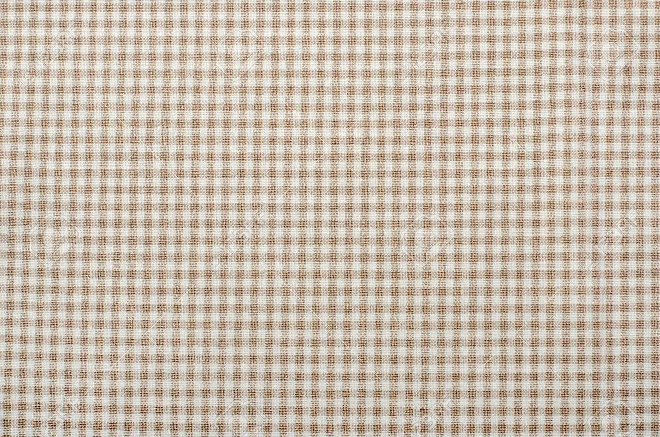Fantastic Close Up On Checkered Tablecloth Fabric. Brown With White Tartan  QM75