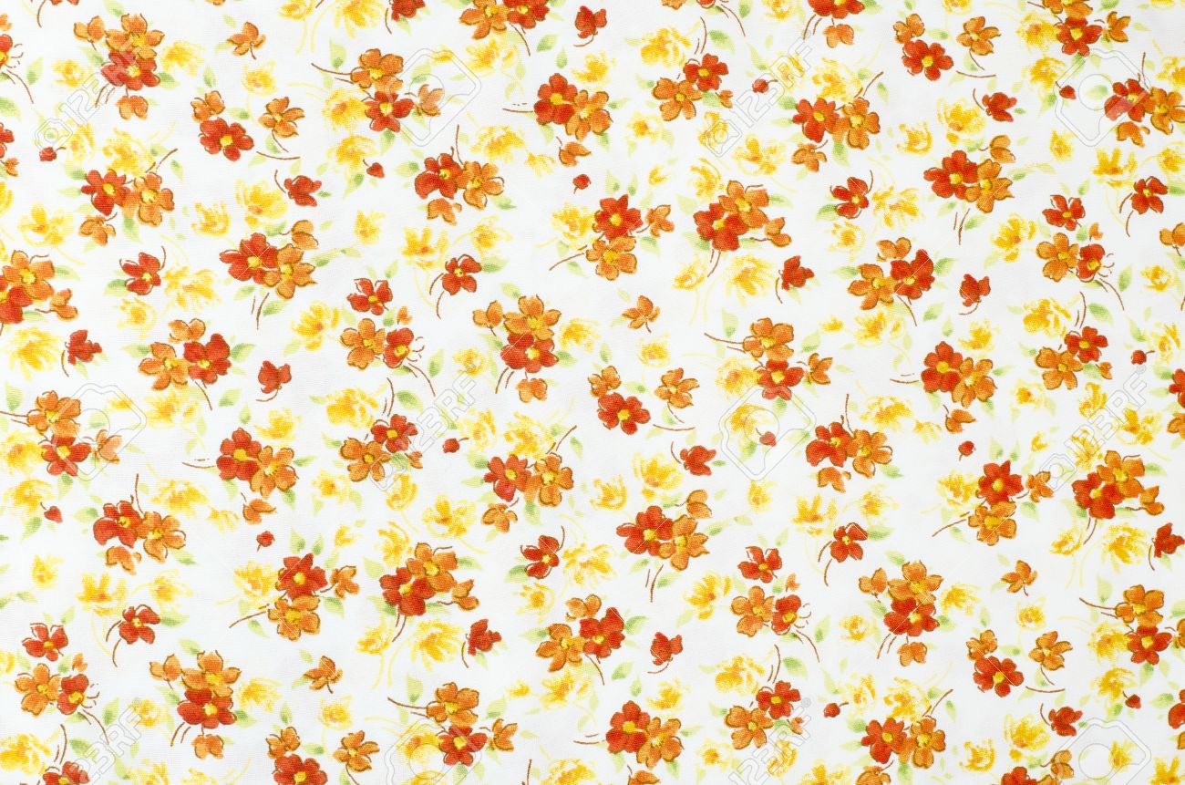 Small Floral Pattern On Fabric Red Orange And White Flowers