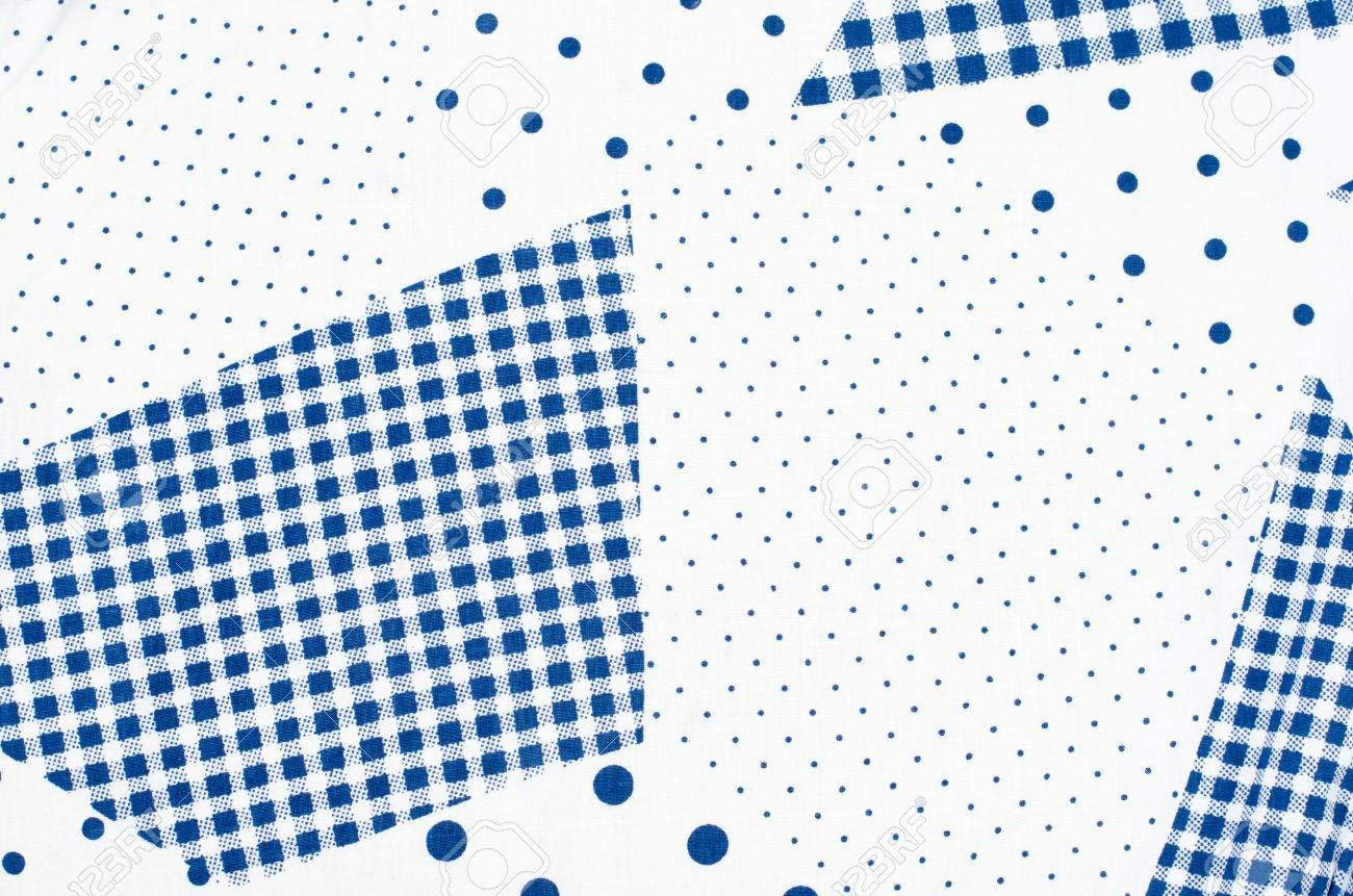 check small. Square Check Tablecloth Pattern With Small And Big Polka Dots. Blue White Asymmetric