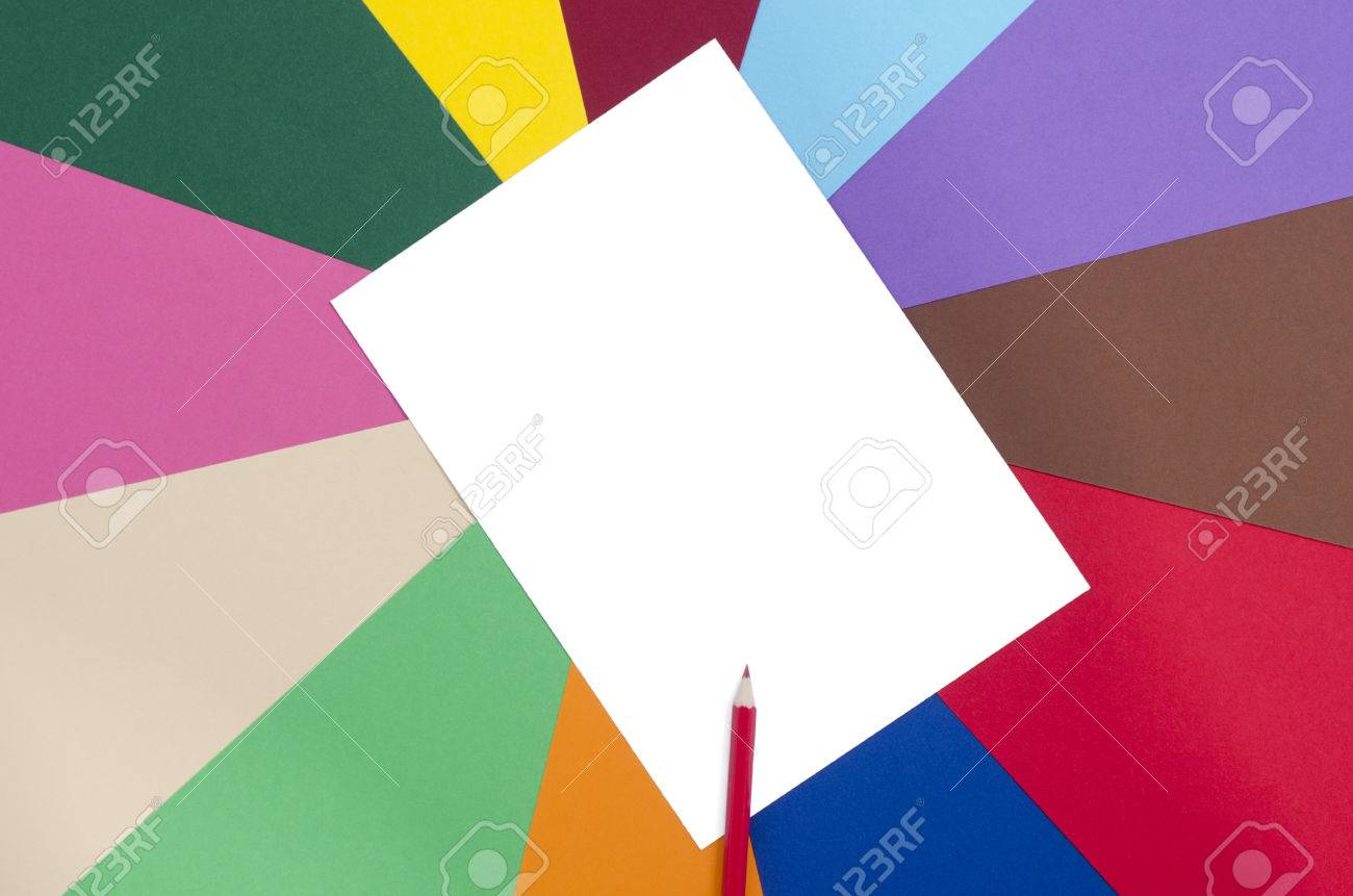 red pencil and white sheet paper color pencil on a blank white paper with rainbow - Blank Rainbow To Color