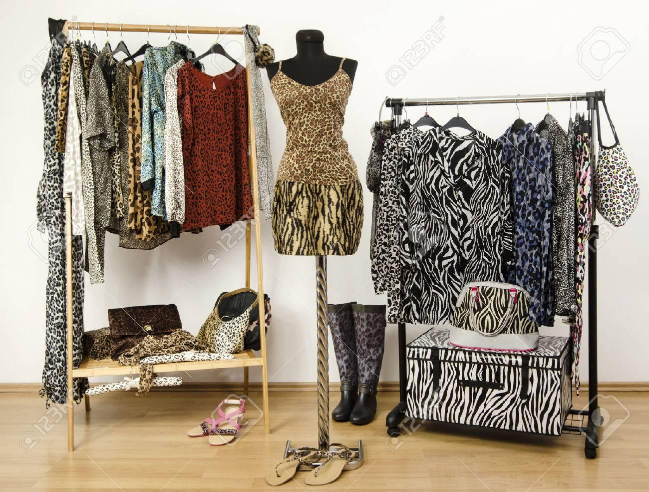 Modèle De Placard Dressing dressing placard avec des vêtements imprimés animaux disposés sur des  cintres. top imprimé guépard et jupe imprimée tigre sur un mannequin.  armoire