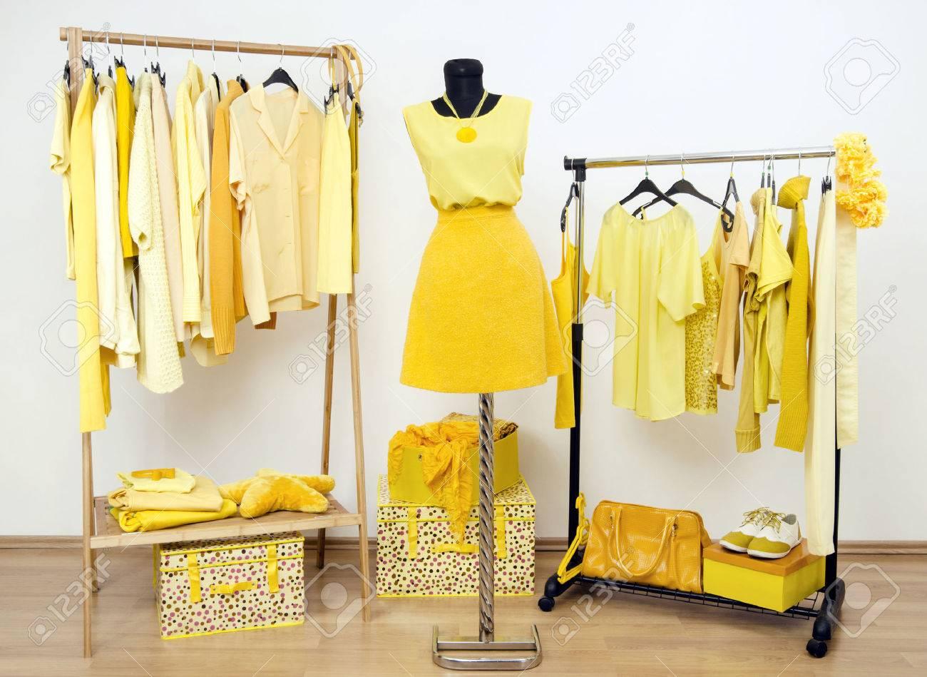 692a45d4c862 Armario lleno de todos los matices de la ropa de color amarillo, zapatos y  accesorios.