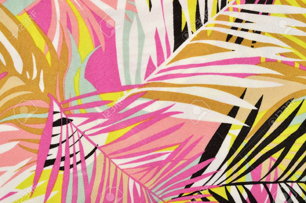 Colorful Tropical Leaves Pattern On Fabric. Pink, Yellow, Black ...