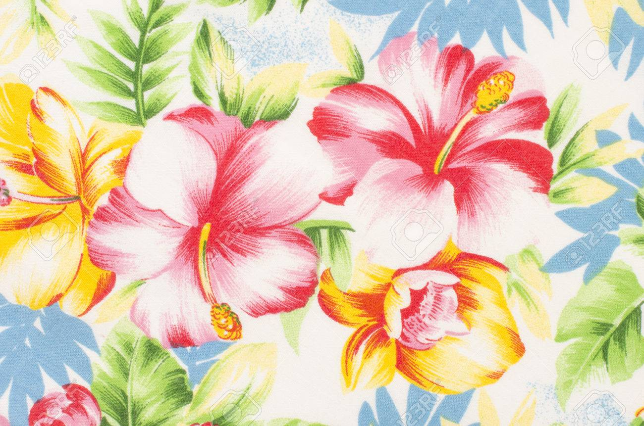 Floral Pattern On Fabric Yellow And Pink Big Flowers With Green