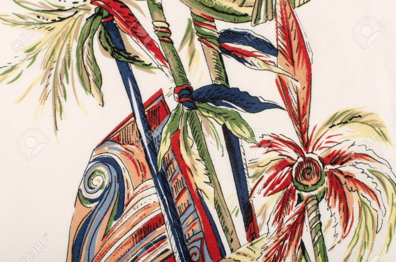 Fabric tree pattern - Stock Photo Tropical Palm Leaves Pattern On White Fabric Colorful Palm Tree Print As Background