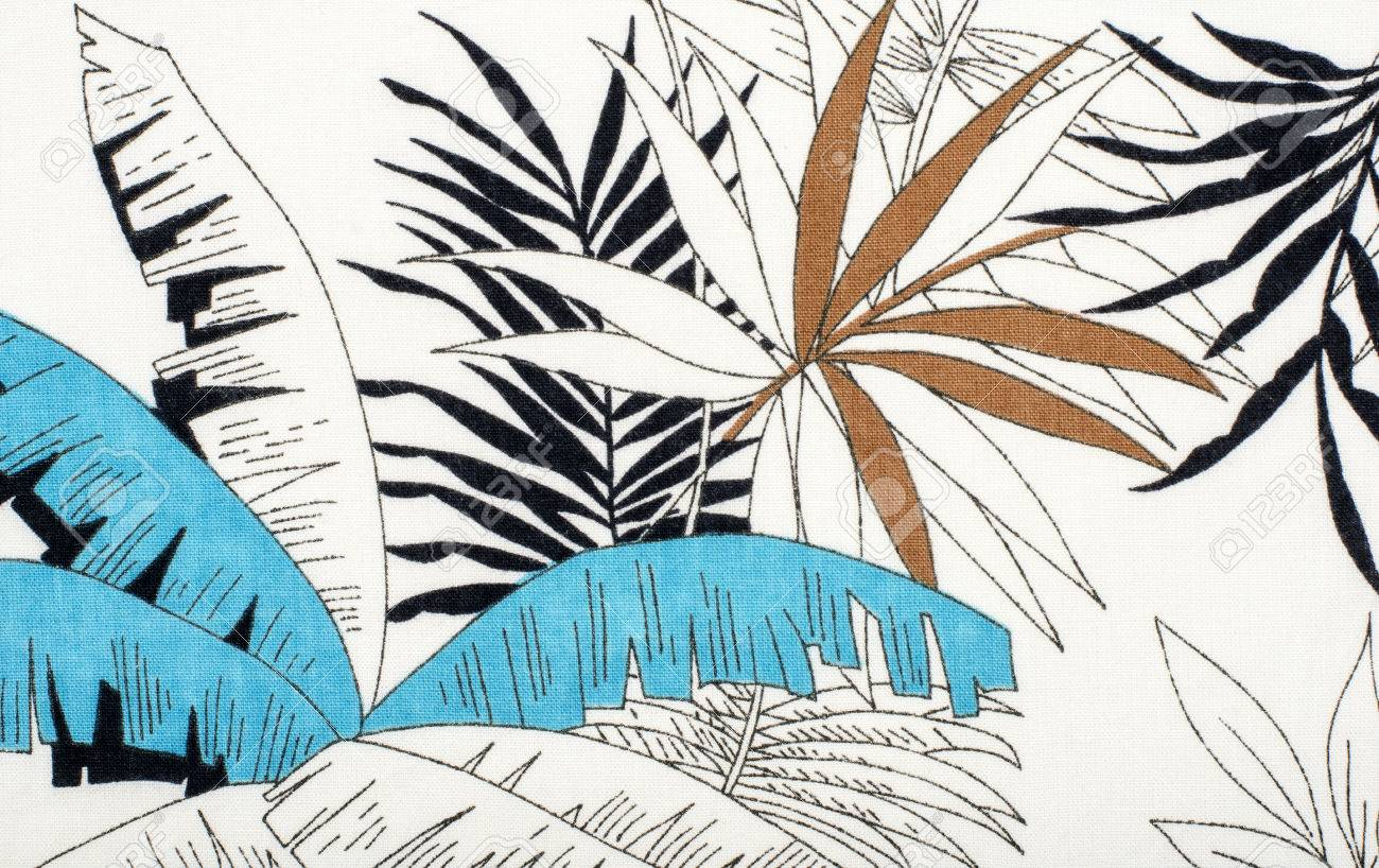 Tropical Leaves Pattern On White Fabric. Black With Blue And ...