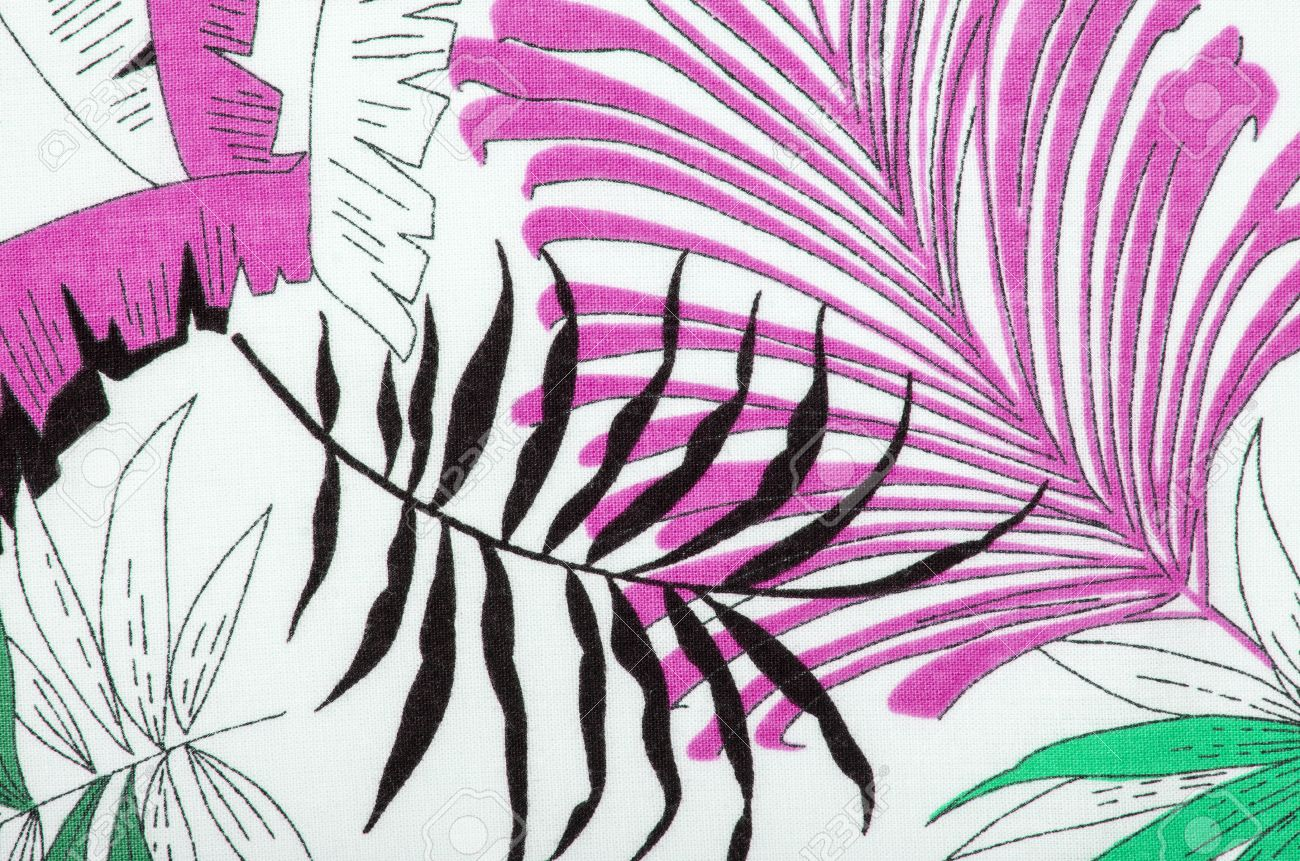 tropical leaves pattern on white fabric black with pink and stock