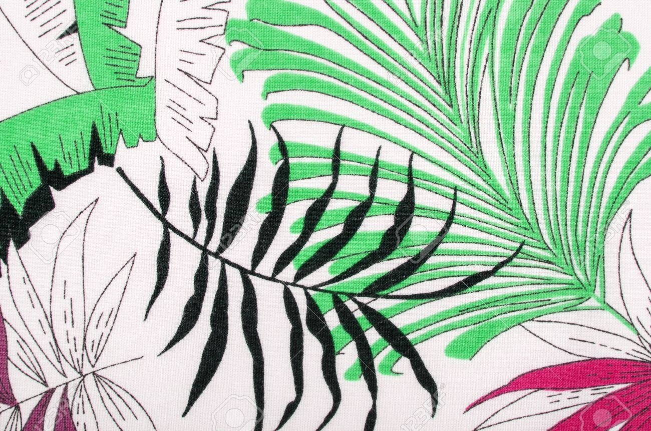 tropical leaves pattern on white fabric black with green and