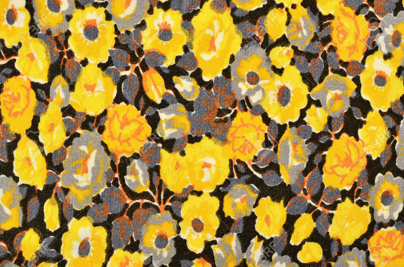 Small Floral Pattern On Black Fabric Yellow And Grey Flowers