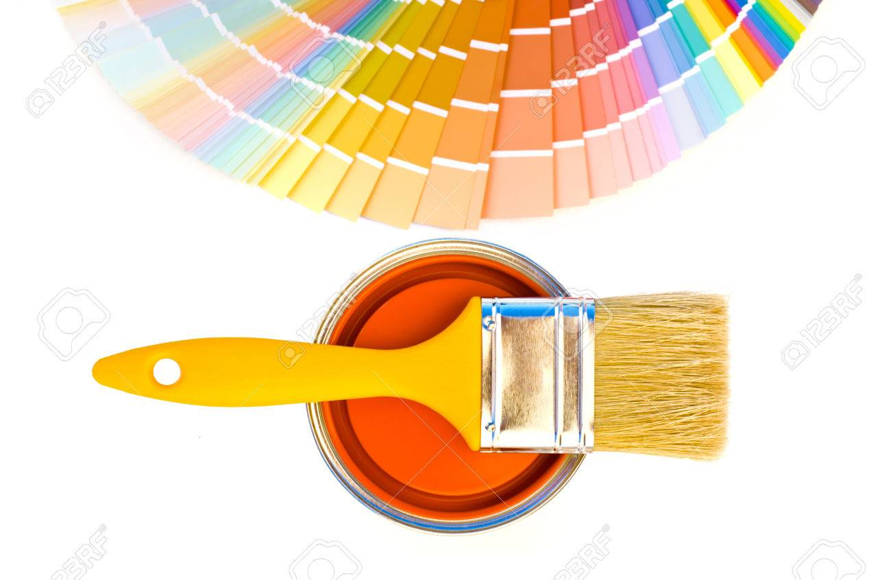 Lovely Orange Paint And Swatch. Samples With Different Shades Of Orange And Can Of Orange  Paint