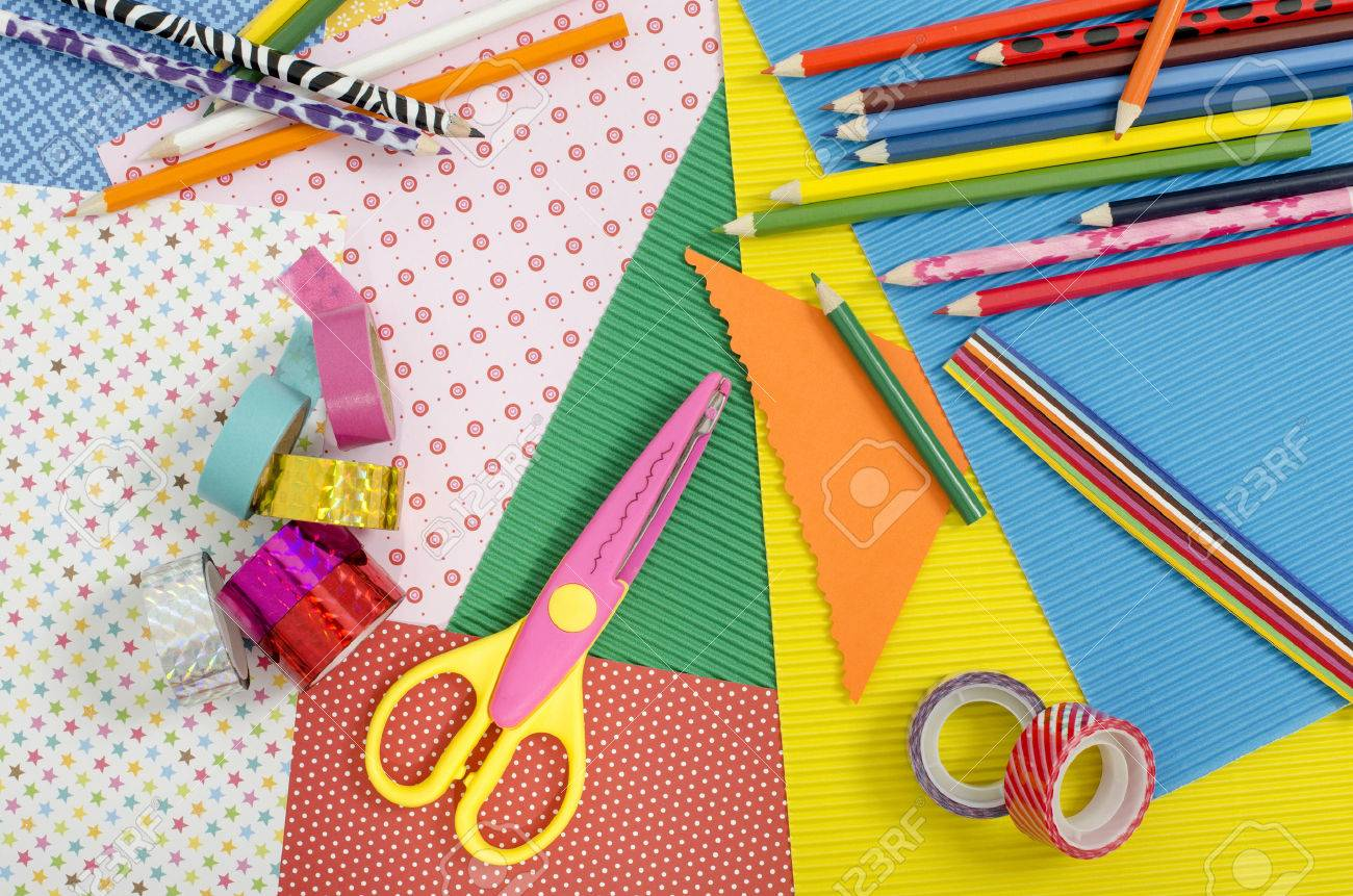 Perfect Arts And Craft Supplies. Color Paper, Pencils, Different Washi Tapes, Craft  Scissors