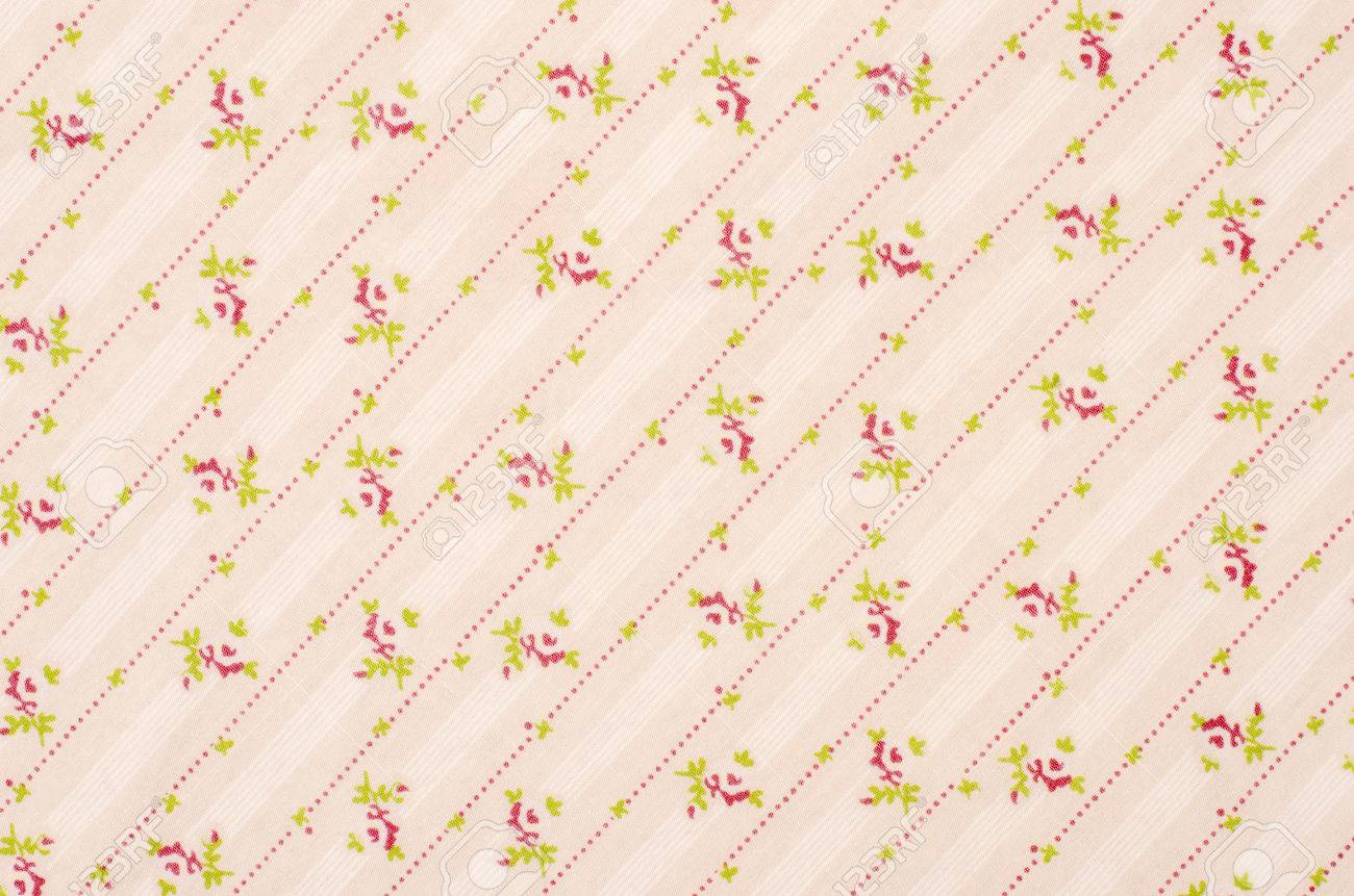 Shabby Chic Floral Pattern On Pink Fabric Small Roses Flowers And Dots Stripes Print As