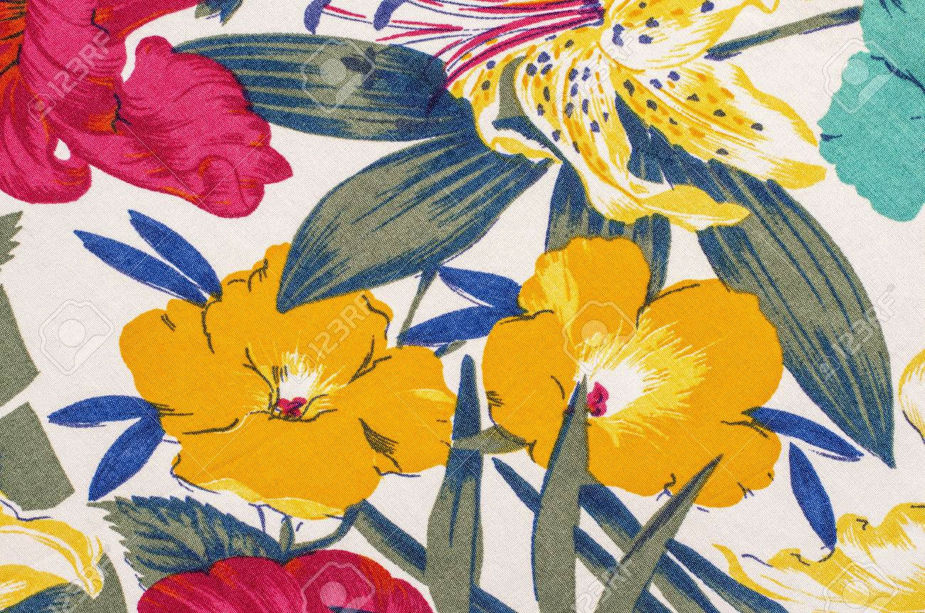 Floral Pattern On White Fabric. Colorful Exotic Yellow Flowers ...