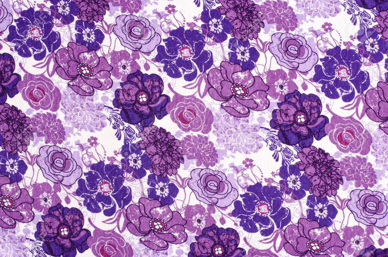 Purple Floral Pattern On White Fabric Mauve Abstract Flowers