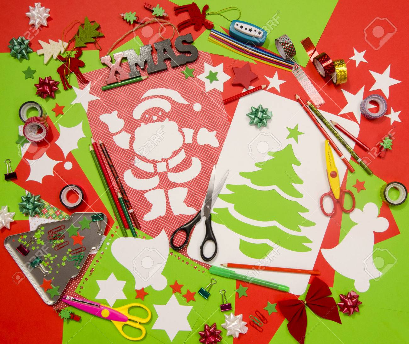 Craft Supplies Christmas Part - 17: Arts And Craft Supplies For Christmas. Red And Green Color Paper, Pencils,  Different