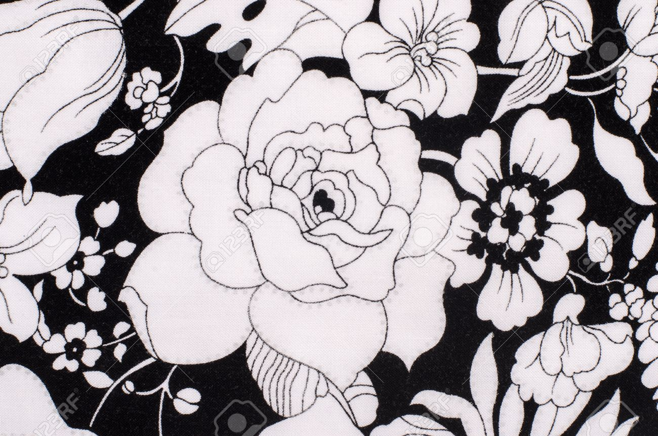 Graphic Floral Pattern On Fabric Black And White Flowers Print