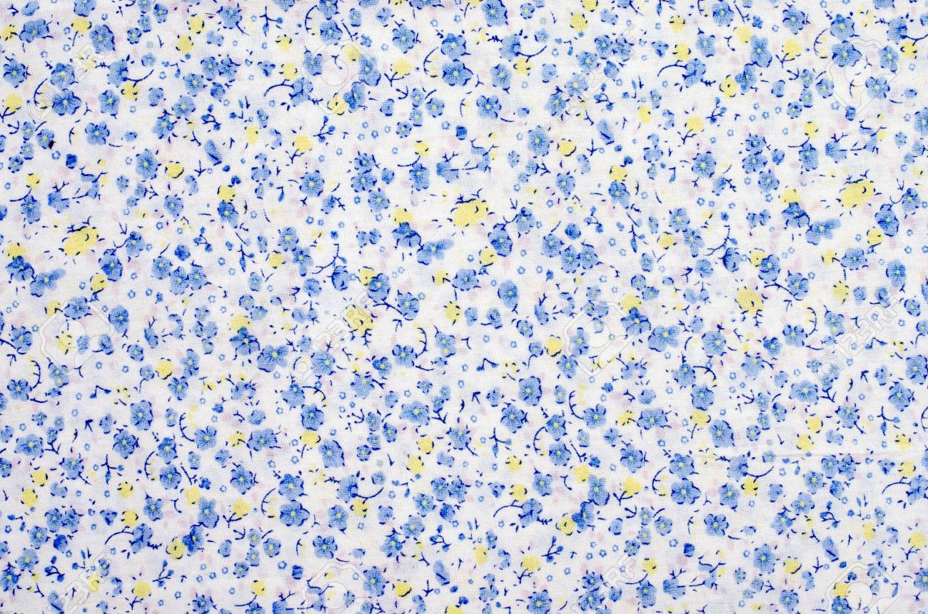 Floral Pattern On Fabric Blue And Yellow Flowers Print On White